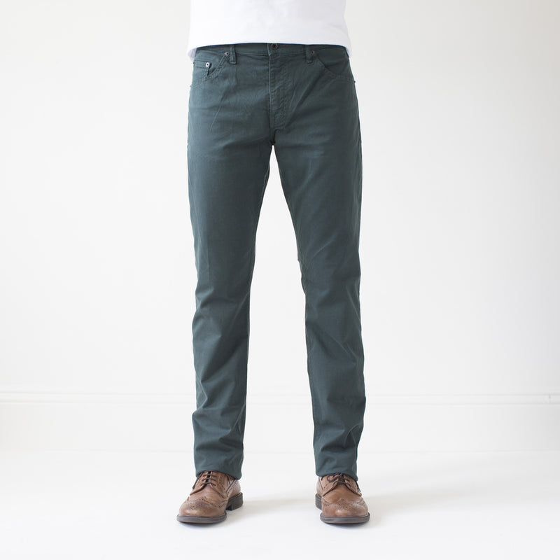 angle hover: juniper  Raleigh Denim Workshop Jones thin fit brushed twill pants, in juniper green blue, front