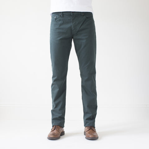 angle: juniper | Raleigh Denim Workshop Jones thin fit brushed twill pants, in juniper green blue, flat front