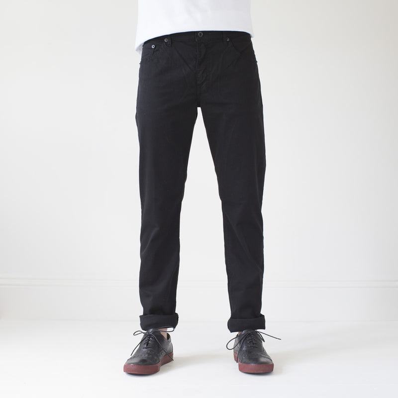 angle hover: black  Raleigh Denim Workshop Jones thin fit brushed twill pants, in black, front