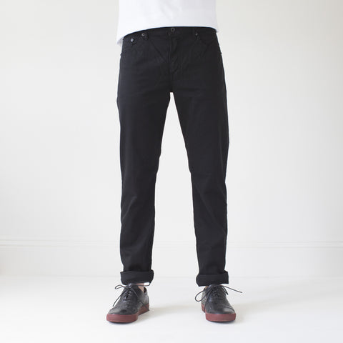 angle: black | Raleigh Denim Workshop Jones thin fit brushed twill pants, in black, flat front