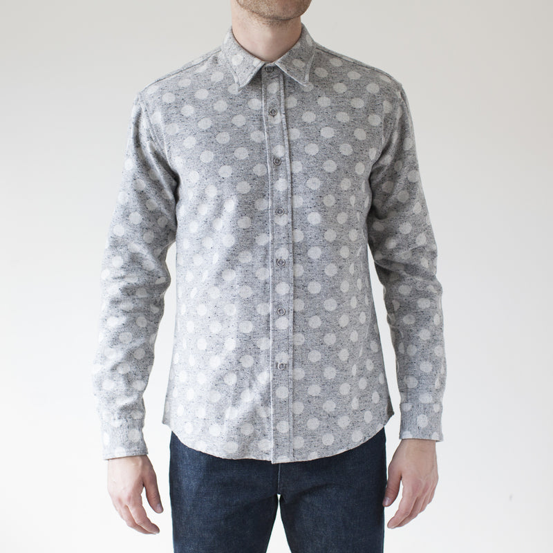 angle: grey heather  Raleigh Denim Workshop Classic Button-up: Slub in grey heather polka dot, front on model.