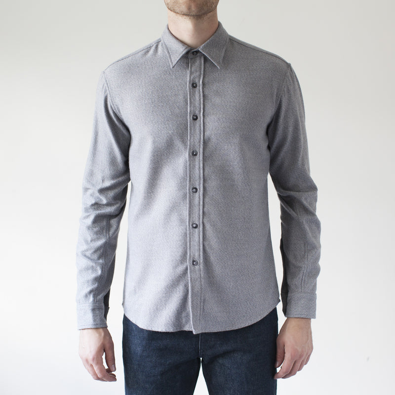 angle: grey heather  Raleigh Denim Workshop Classic Button-up: flannel twill in grey heather, front on model.