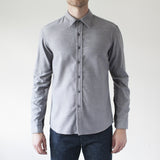 angle hover: grey heather  Raleigh Denim Workshop Classic Button-up: flannel twill in grey heather, front on model.