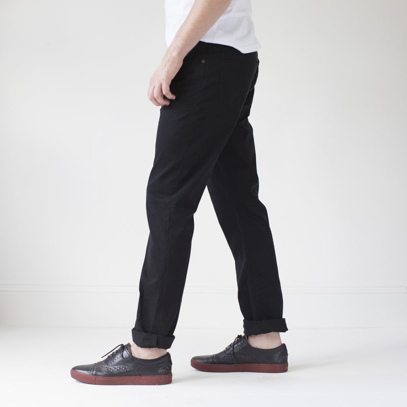 angle: black  Raleigh Denim Workshop Jones thin fit brushed twill pants, in black, side view