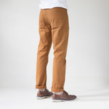angle: chestnut  Raleigh Denim Workshop Jones thin fit brushed twill pants, in chestnut orange, side rear view