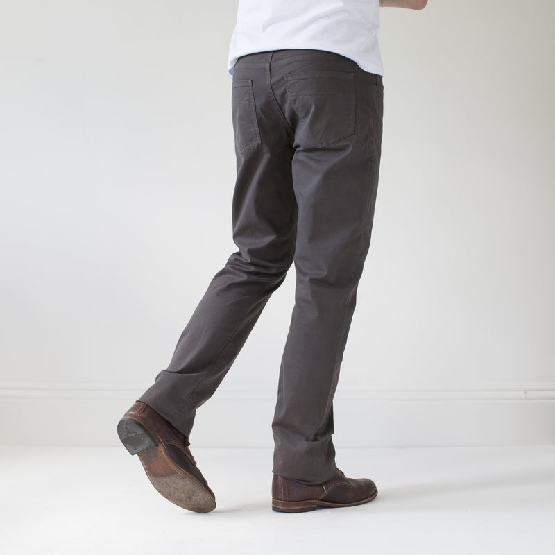 angle: smoke  Raleigh Denim Workshop Jones thin fit brushed twill pants, in smoke gray, rear side view