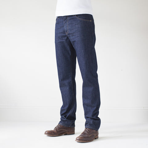 angle: resin rinse | Raleigh Denim Workshop Alexander work fit jeans with a dark wash, front view