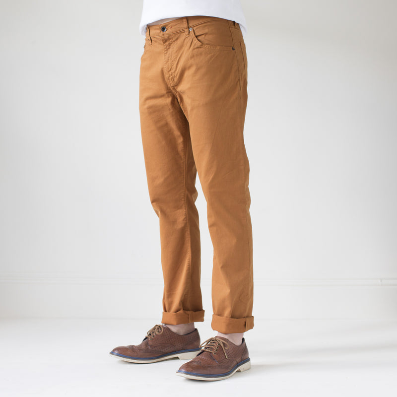 angle: chestnut  Raleigh Denim Workshop Jones thin fit brushed twill pants, in chestnut orange, front side view