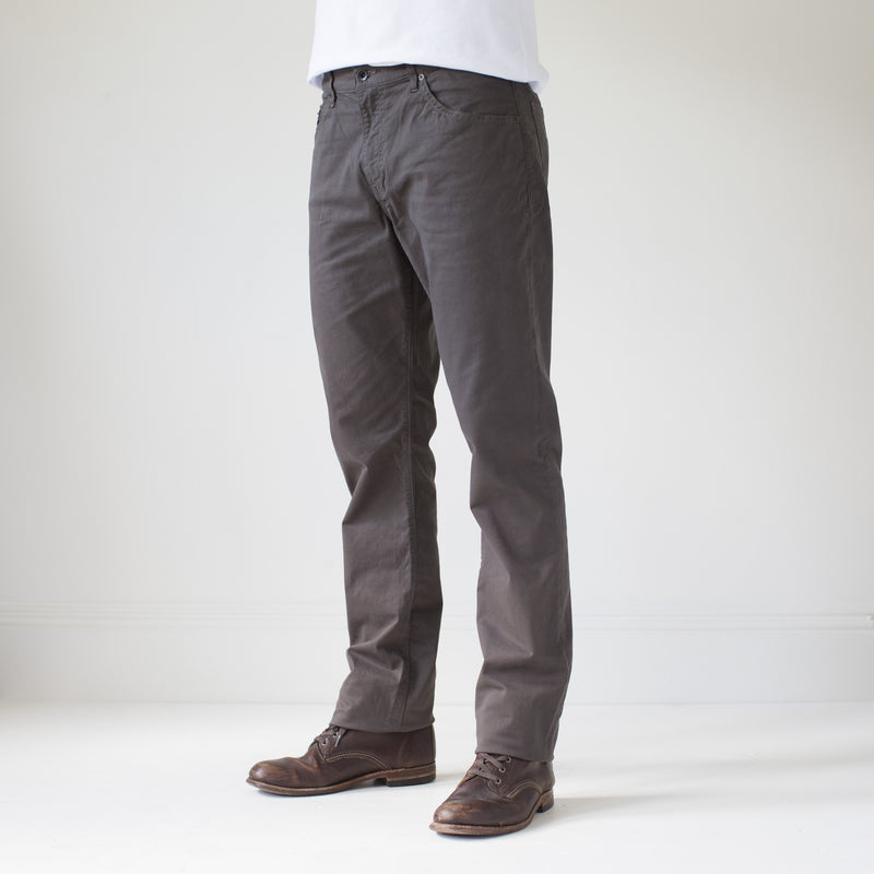 angle: smoke  Raleigh Denim Workshop Jones thin fit brushed twill pants, in smoke gray, front side view