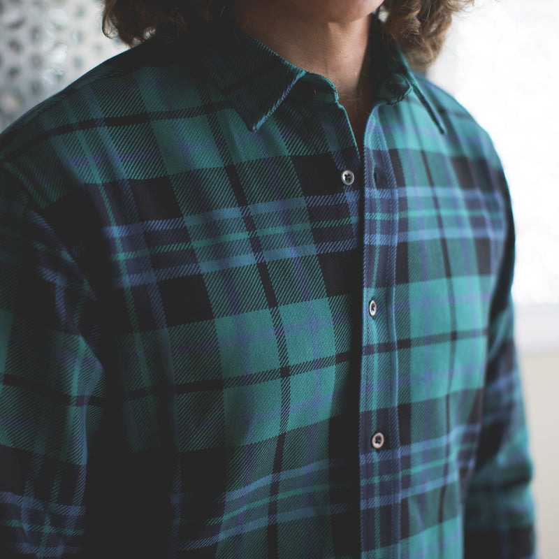 angle hover: malachite plaid  A Raleigh Denim Workshop classic button up in malachite plaid