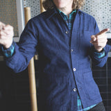 angle: blue fleck  A Raleigh Denim Workshop chore coat in blue fleck