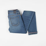 angle: vintage  Raleigh Denim Workshop Surry mid-rise thin fit vintage wash jeans, back view