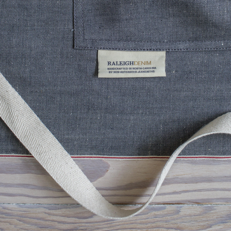 angle hover: Cinder Selvage  Details of Raleigh Denim Workshop cinder selvage apron