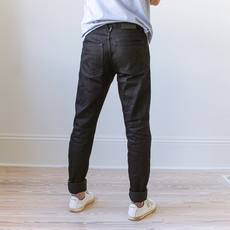 angle: black  Raleigh Denim Workshop Black Selvage Raw pants in Martin Fit