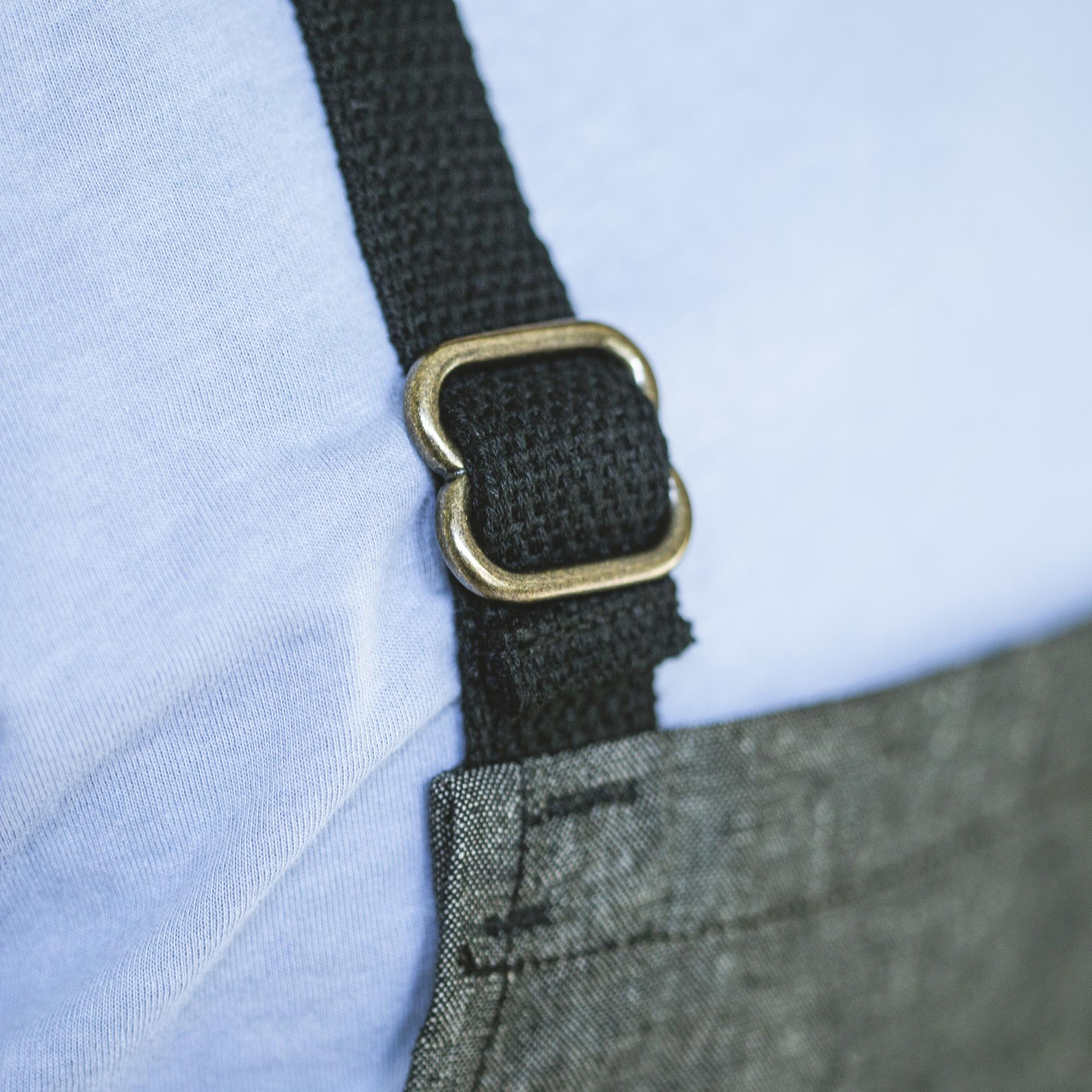 angle: Basalt  Raleigh Denim Workshop close up of black straps