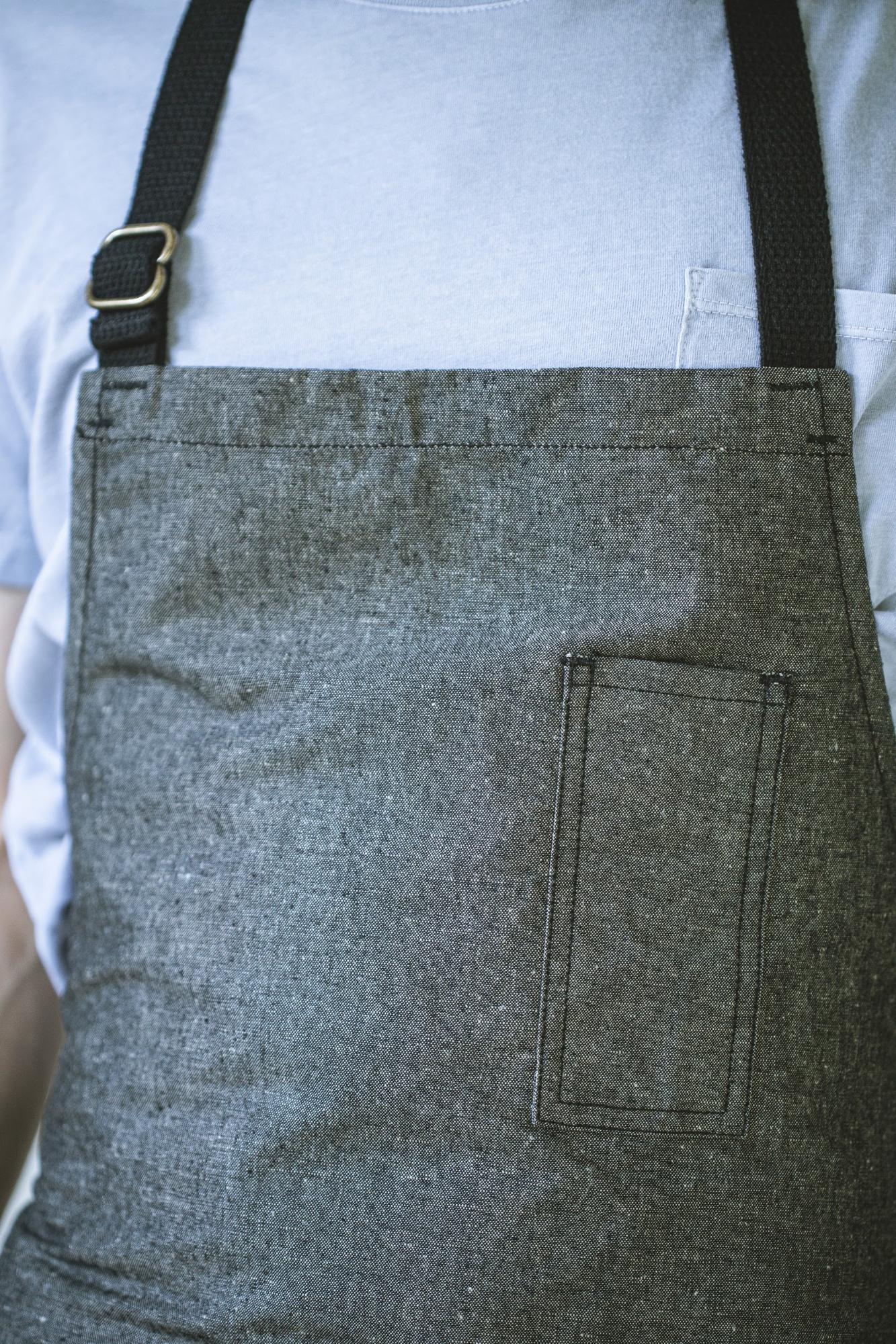 angle hover: Basalt  Raleigh Denim Workshop apron front in basalt