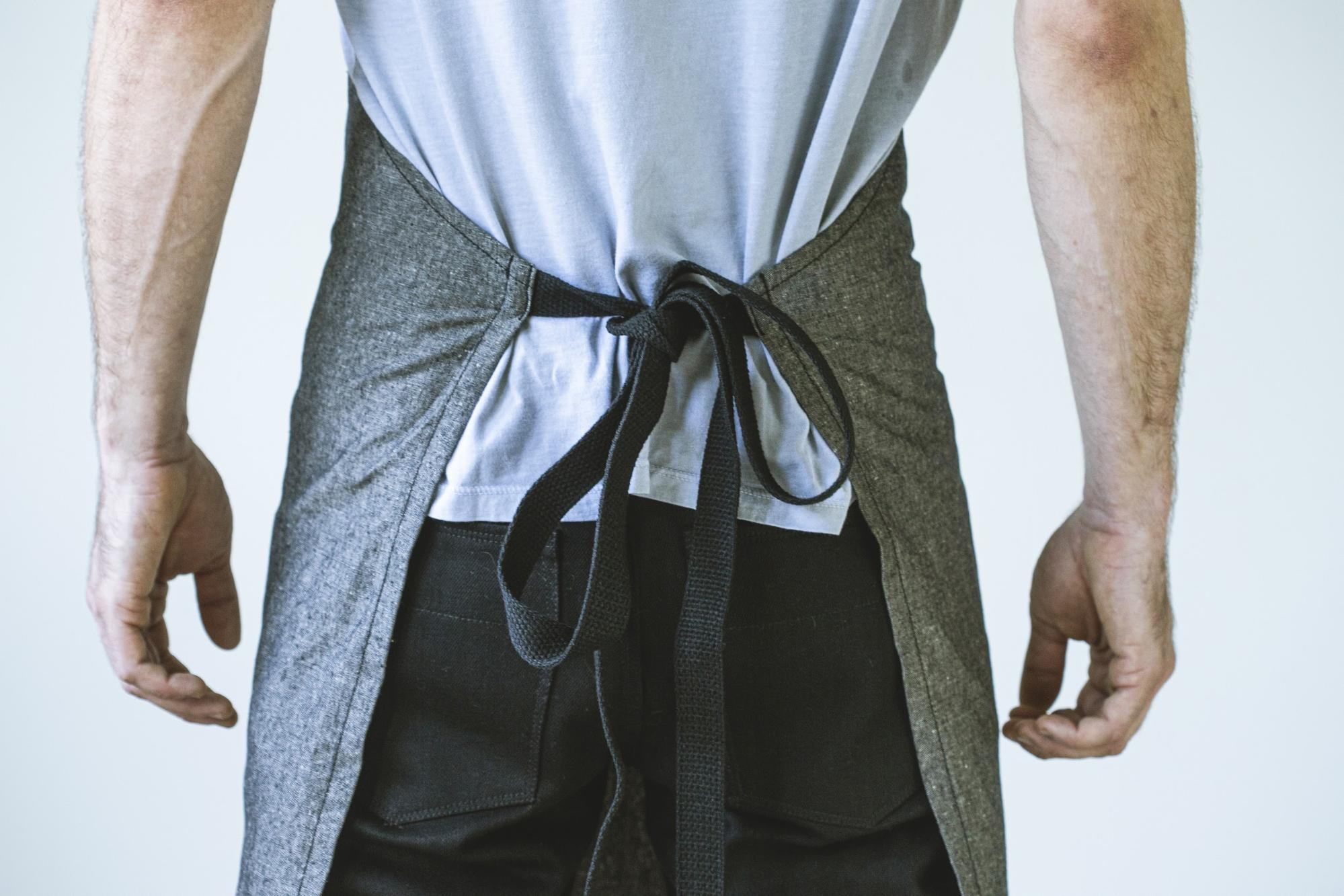 angle hover: Basalt  Raleigh Denim Workshop apron back in basalt