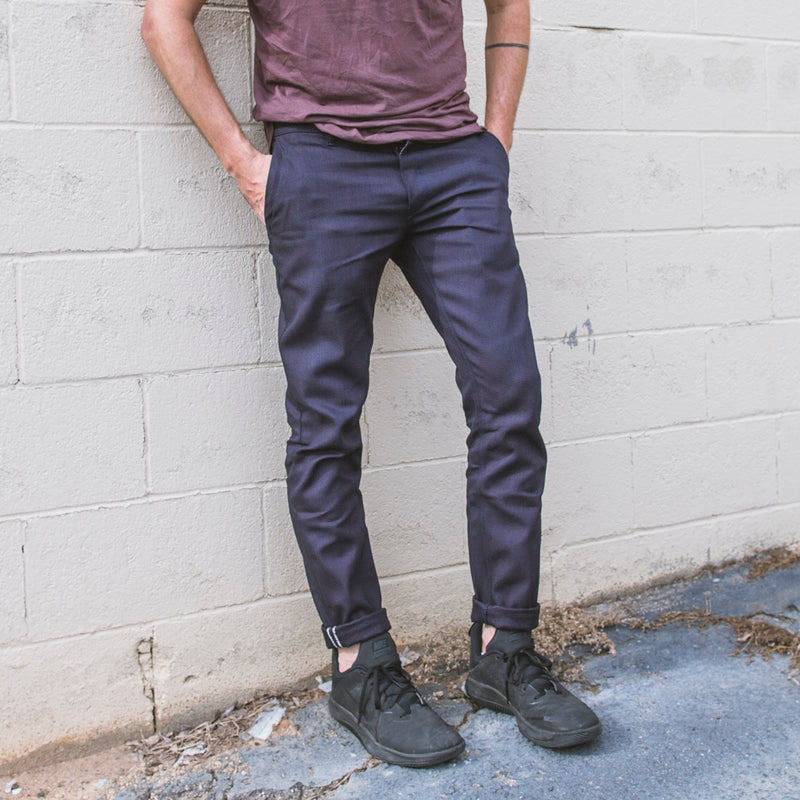 angle hover : stacked selvage  A Raleigh Denim Workshop Martin pants in stacked selvage