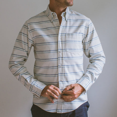 angle: winter stripe | Raleigh Denim Workshop Patch Pocket Button Up in winter stripe