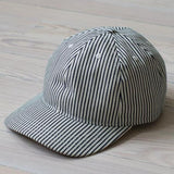 angle: hickory stripe  A Raleigh Denim six panel structured hat