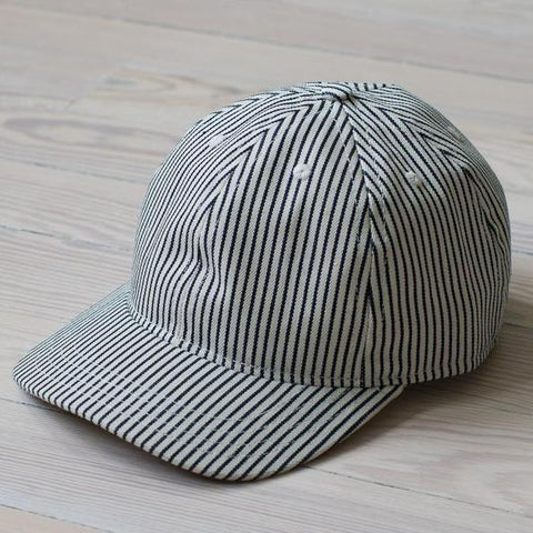 angle: hickory stripe | A Raleigh Denim six panel structured hat