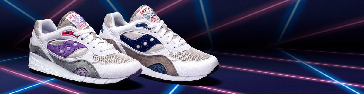 Saucony Originals running shoes with laser background