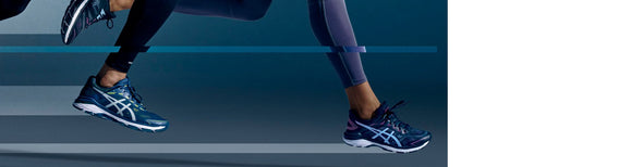 People running in ASICS running shoes