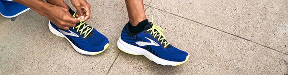 Man wearing Brooks Launch 6 running shoes
