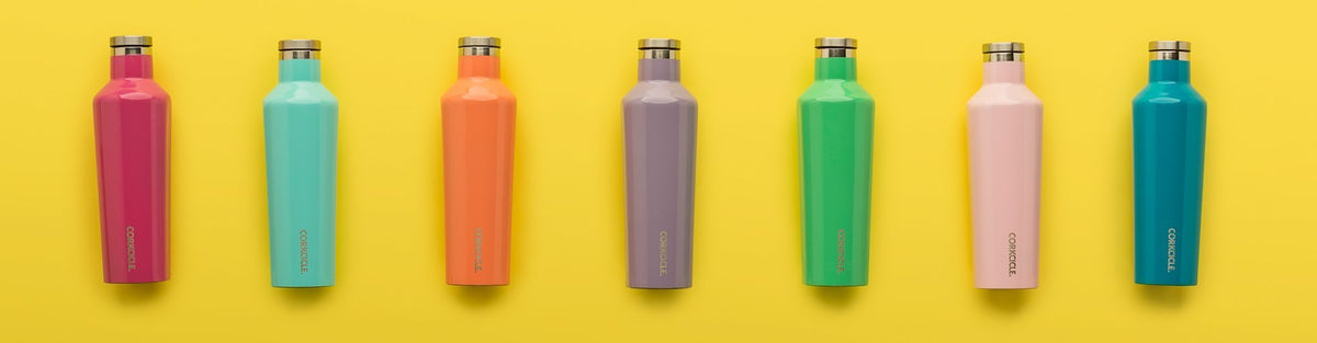 Colorful array of Corkcicle bottles on yellow background