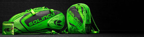 Solinco Tour Neon Green Bags and Hyper-G Soft String
