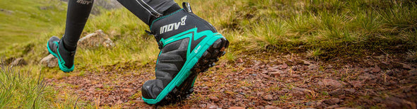 Woman in Inov-8 trail running shoes