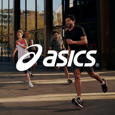 Men and Women running in ASICS Running Gear with Logo
