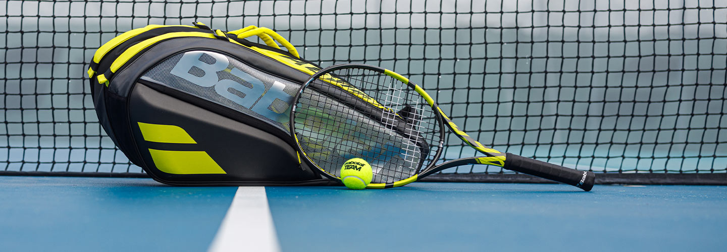 Babolat tennis racquets, shoes, and bags