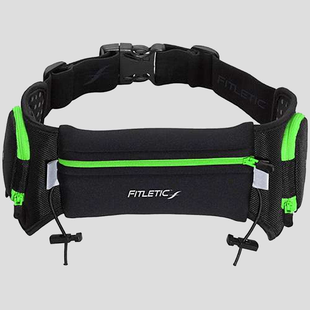 Fitletic Quench Retractable Hydration Belt (16-24 oz) Hydration Belts & Water Bottles Black/Green