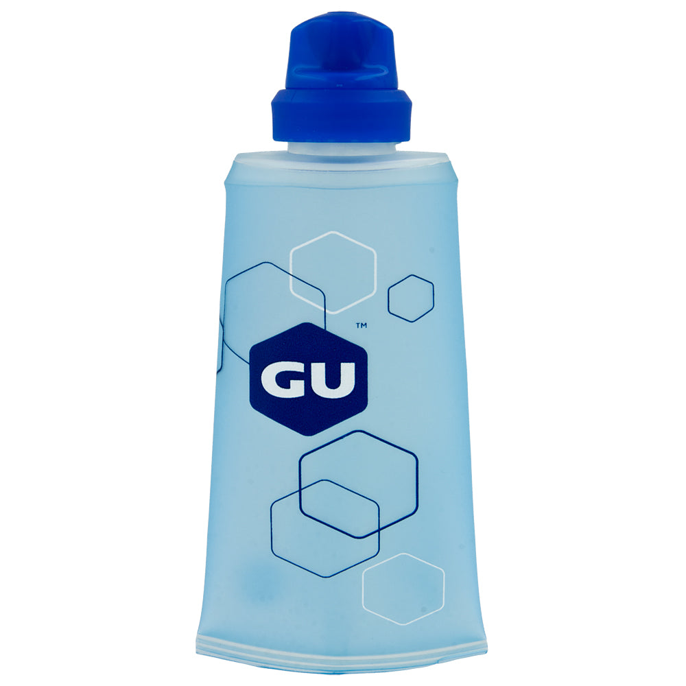 The GU Flask will be your perfect fitness companion, storing 5 servings of your favorite GU Energy gel flavors. The soft flask features a high-flow nozzle that makes gaining access to your fuel much easier with less mess. This innovative system is completely reusable.  BPA- and PVC-free. Designed with measurements on the back.