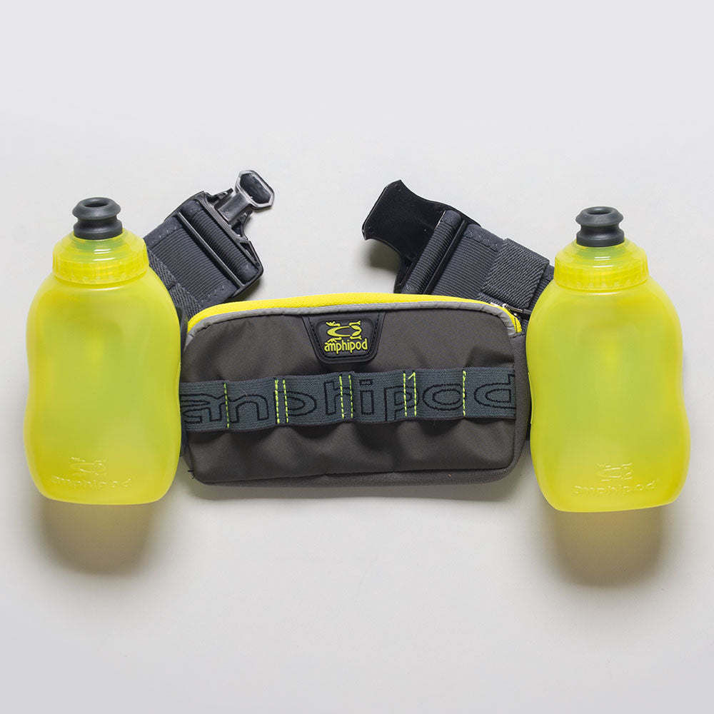 Amphipod RunLite Xtech 2 Plus Hydration Belt Hydration Belts & Water Bottles Charcoal/Amp Green