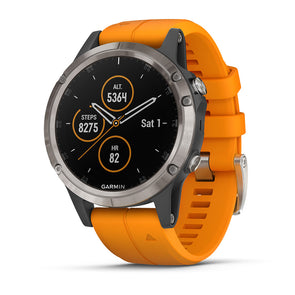 Garmin fenix 5 Plus Sapphire Titanium/Spark Orange GPS Watch