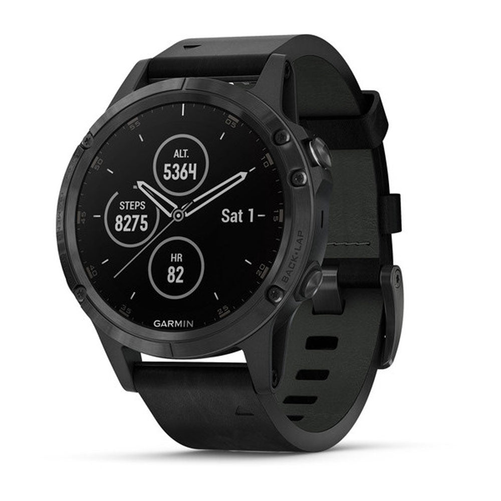 Garmin fenix 5 Plus Sapphire Black/Black Leather GPS Watch: Garmin GPS Watches
