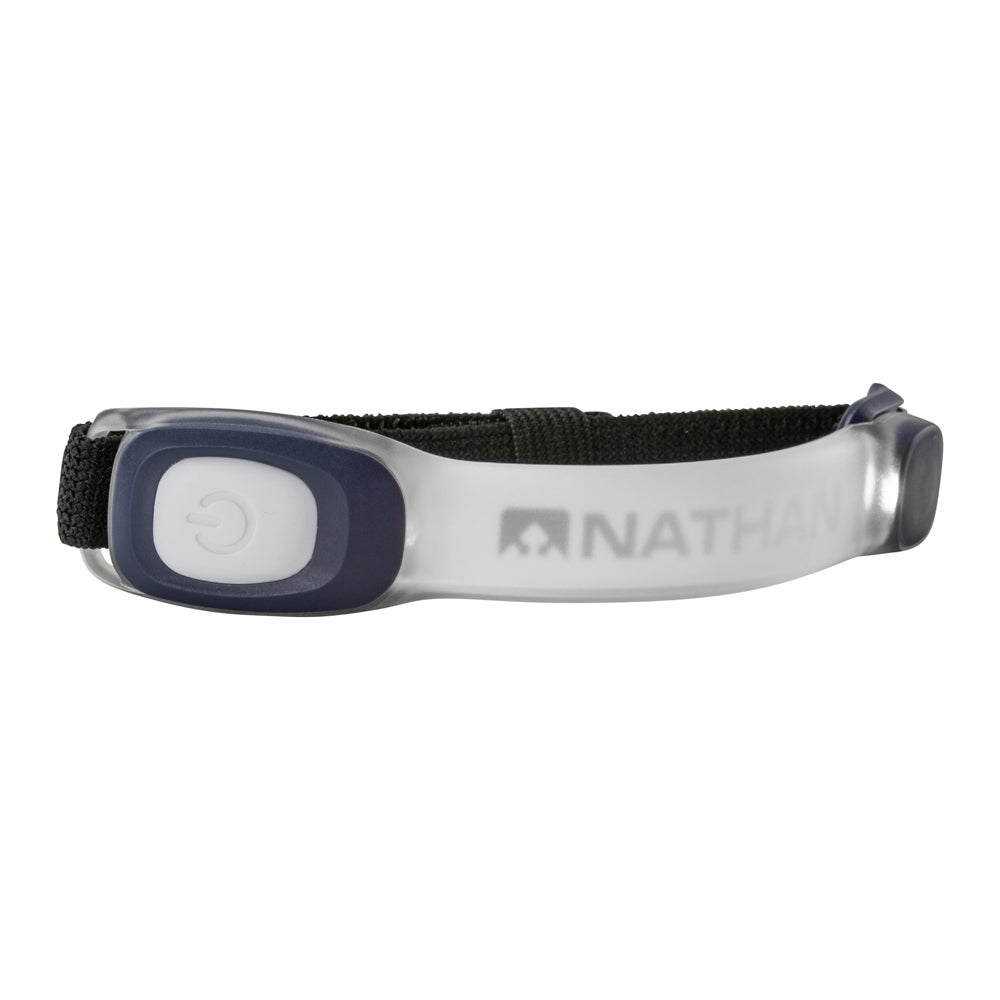 Rejoice with the wearable, weather resistant illumination ofthe Nathan LightBender Mini™ R. Early risers or late-night runners and hikers will love the lightweight band that provides 2400 ft. of LED Visibility with three color options. This adjustable band can be worn on the arm or leg and offers 5 different modes.  Is an adjustable band for wearing on the arm or leg. Features three color options and 5 modes. Is weather-resistant and Ragnar Approved.
