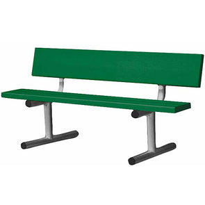 5' Aluminum Bench with Back - Green