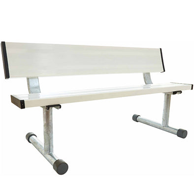 5' Aluminum Bench with Back - White