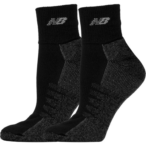 New Balance Quarter with Coolmax Black Socks 2 Pack