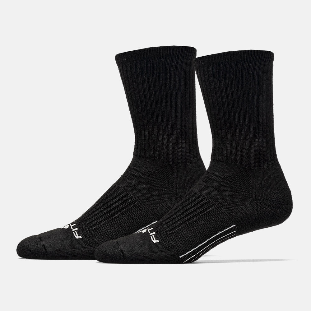 FITSOK CF2 Cushion Crew socks are engineered with an excellent combination of technologies and features to deliver a completely comfortable and supportive sock. The engineered heel reinforces the shape of the heel to reduce discomfort and stabilize ankle support. With an Arch Clincher, the socks are locked into place, aiding arch support while reducing friction.  FLOWTEK Channels promote airflow on all sides of the foot, dispersing heat and moisture around the foot. Superior Venting mesh construction expedites removal of heat from the foot. Max Arch Support alleviates foot fatigue by providing a supportive fit around the arch. Precision Toe provides a contoured fit and eliminates bunching and irritation at the end of the foot.