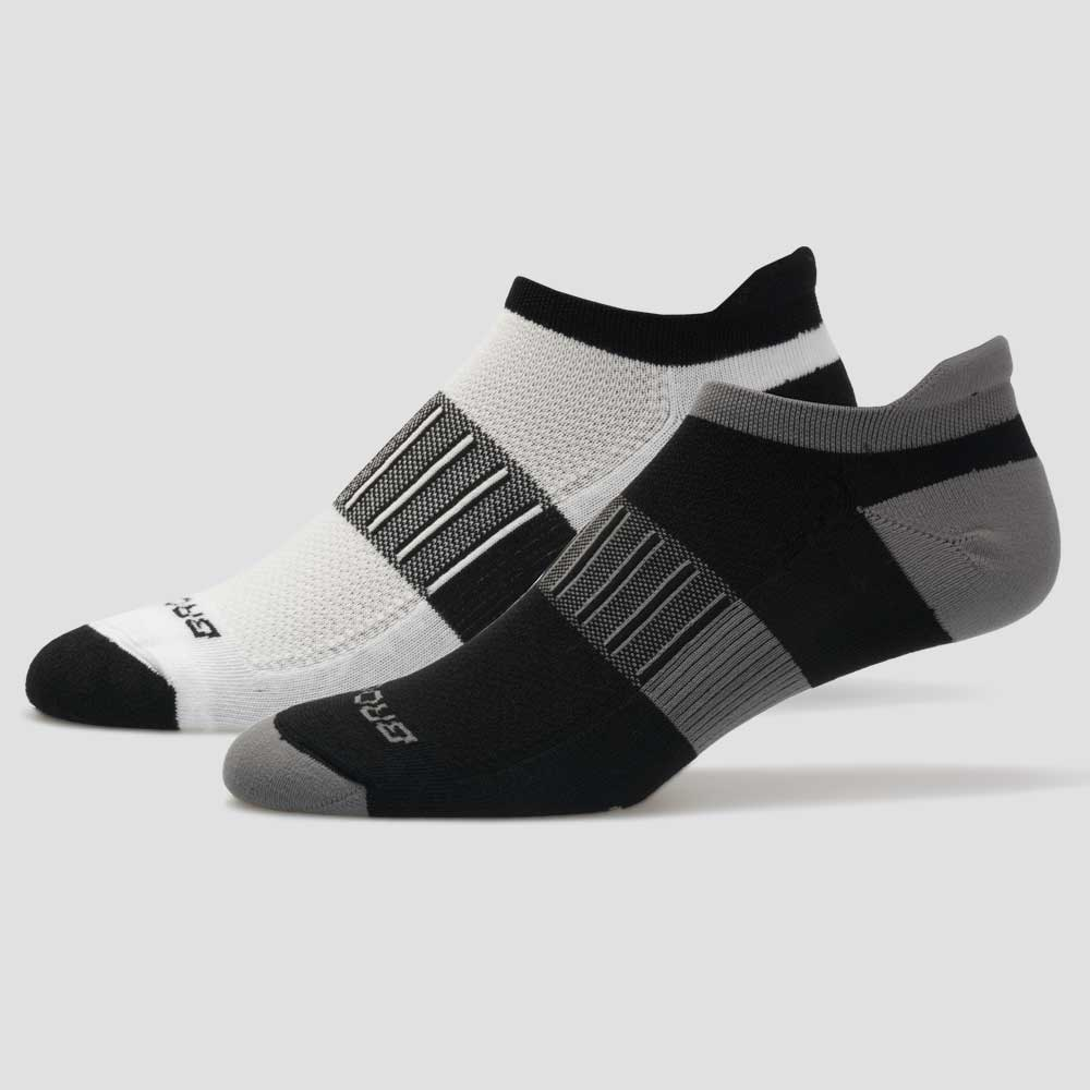 Asphalt//Fiery Red Size Large Brooks Ghost Midweight Tab 2-Pack Running Socks White//Bt.Blue