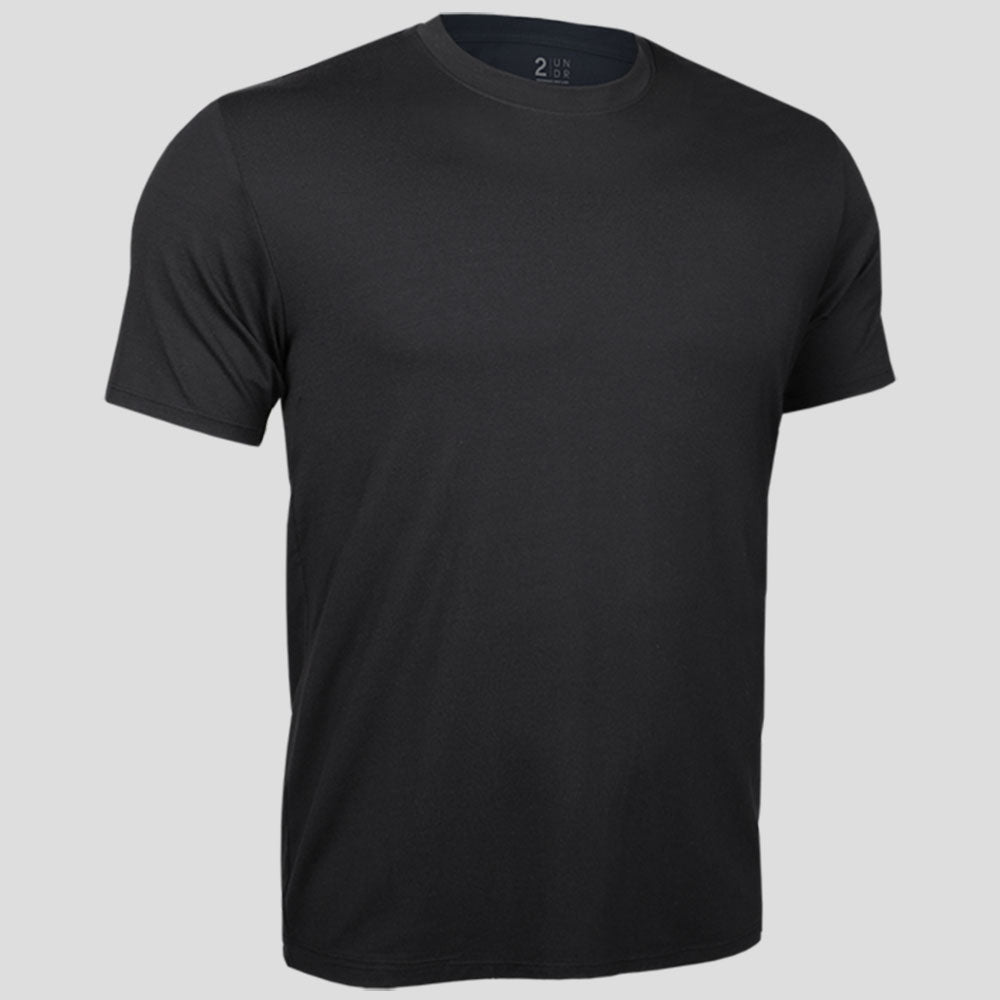 2UNDR Crew Neck Tee Men's Tennis Apparel  Black : Part of the 2UNDR Loungewear Collection, the 2UNDR Crew Neck Tee offers the comfy, lived-in feel with a premium look. Lightweight and breathable single jersey fabric with Dry-Balance technology will have guys feeling absolutely at home in this t-shirt, whether they are catching a movie on the couch or hitting the gym for leg day. Made for:  Performance Comfort Style    Featured in a crew neck style. 4-way stretch fabric for high impact performance. Offers lightweight, dry comfort and low odor retention.