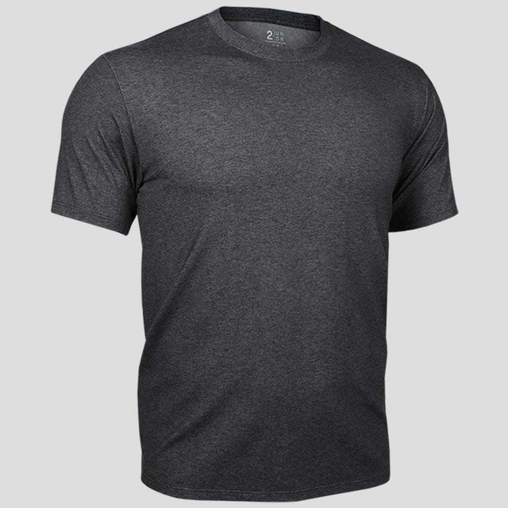 2UNDR Crew Neck Tee Men's Tennis Apparel  Charcoal : Part of the 2UNDR Loungewear Collection, the 2UNDR Crew Neck Tee offers the comfy, lived-in feel with a premium look. Lightweight and breathable single jersey fabric with Dry-Balance technology will have guys feeling absolutely at home in this t-shirt, whether they are catching a movie on the couch or hitting the gym for leg day. Made for:  Performance Comfort Style    Featured in a crew neck style. 4-way stretch fabric for high impact performance. Offers lightweight, dry comfort and low odor retention.