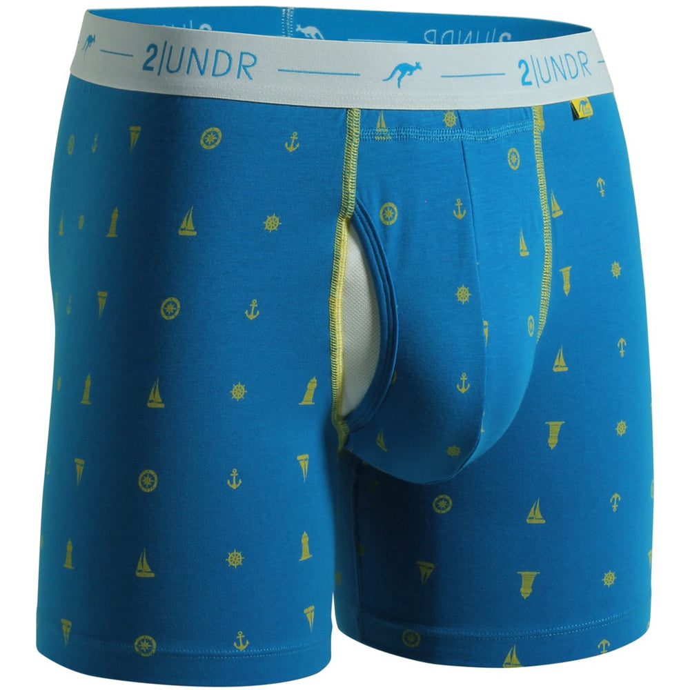 "2UNDR Day Shift 6"" Boxer Briefs Prints Athletic Apparel Anchors Away : 2UNDR Day Shift Boxer Briefs share a blend of modal and cotton to create a smooth, breathable feel. A great choice for everyday wear with fun designs to keep things interesting. Includes the patented Joey Pouch™ for the best in comfort and style. Cool and soft to the touch, the Day Shift Boxer briefs are sure to please. Fun patterns make these boxers anything but ordinary.   Material resists shrinkage. Elastic waistband provides a secure fit. Self-fabric binding offers a smoother look and feel. No-Drip-Tip™ moisture control layer wicks away unwanted wetness for a faster drying garment. Joey Pouch™ delivers the perfect fit while preventing unwanted skin contact. Modal blends with spandex fabric for a smooth and soft feel that breathes extremely well. Waistband guarantees flexibility and is roll-resistant. Flatlock stitching and construction seams are intelligently designed to avoid potential rub zo"