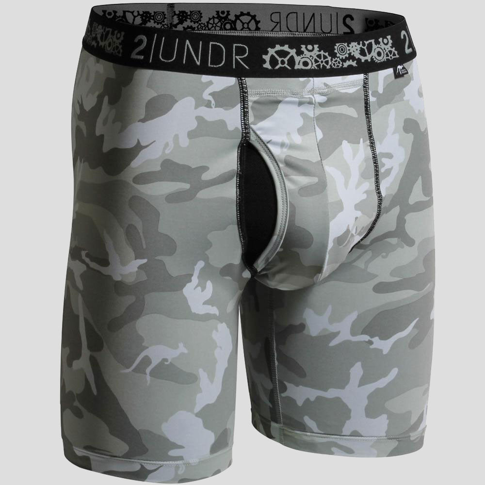 "2UNDR Gear Shift 9"" Boxer Briefs Prints Athletic Apparel Urban Camo : 2UNDR Gear Shift™ Long Leg Boxer Briefs help you keep it together, even when the pressure is on. With a performance fit and silky smooth touch, you can be confident and ready to take on any situation. A longer length provides optimal coverage for wearing during your athletic endeavors. Rugged camouflage pattern and moisture control properties take this brief to a new level of cool.   Material resists shrinkage. Self-fabric binding offers a smoother look and feel. Joey Pouch™ delivers the perfect fit while preventing unwanted skin contact. No-Drip-Tip™ moisture control layer wicks away unwanted wetness for a faster drying garment. Modal blends with spandex fabric for a smooth and soft feel that breathes extremely well. Waistband guarantees flexibility and is roll-resistant. Flatlock stitching and construction seams are intelligently designed to avoid potential rub zones. 8½"" gusseted inseam."