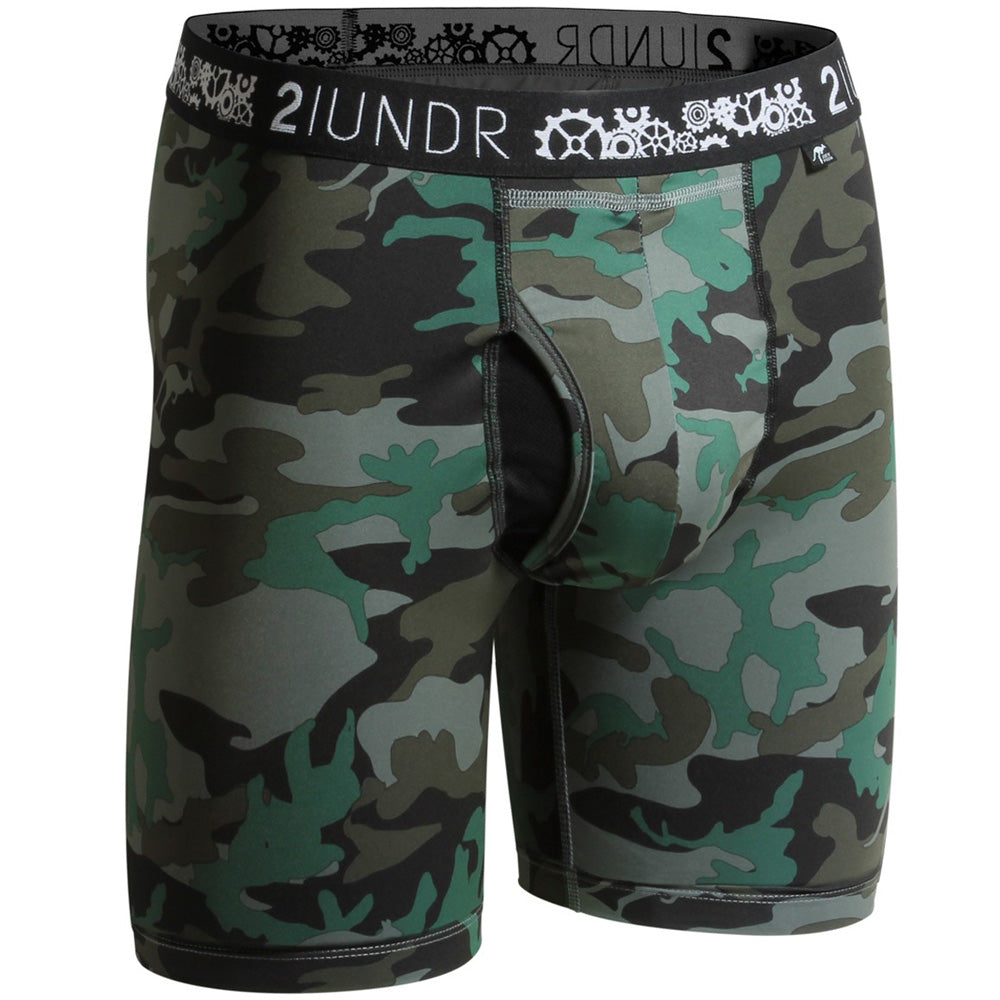 "2UNDR Gear Shift 9"" Boxer Briefs Prints Athletic Apparel Dark Camo : 2UNDR Gear Shift™ Long Leg Boxer Briefs help you keep it together, even when the pressure is on. With a performance fit and silky smooth touch, you can be confident and ready to take on any situation. A longer length provides optimal coverage for wearing during your athletic endeavors. Rugged camouflage pattern and moisture control properties take this brief to a new level of cool.   Material resists shrinkage. Self-fabric binding offers a smoother look and feel. Joey Pouch™ delivers the perfect fit while preventing unwanted skin contact. No-Drip-Tip™ moisture control layer wicks away unwanted wetness for a faster drying garment. Modal blends with spandex fabric for a smooth and soft feel that breathes extremely well. Waistband guarantees flexibility and is roll-resistant. Flatlock stitching and construction seams are intelligently designed to avoid potential rub zones. 8½"" gusseted inseam."