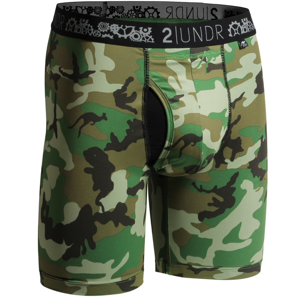"2UNDR Gear Shift 9"" Boxer Briefs Prints Athletic Apparel Woodland Camo : 2UNDR Gear Shift™ Long Leg Boxer Briefs help you keep it together, even when the pressure is on. With a performance fit and silky smooth touch, you can be confident and ready to take on any situation. A longer length provides optimal coverage for wearing during your athletic endeavors. Rugged camouflage pattern and moisture control properties take this brief to a new level of cool.   Material resists shrinkage. Self-fabric binding offers a smoother look and feel. Joey Pouch™ delivers the perfect fit while preventing unwanted skin contact. No-Drip-Tip™ moisture control layer wicks away unwanted wetness for a faster drying garment. Modal blends with spandex fabric for a smooth and soft feel that breathes extremely well. Waistband guarantees flexibility and is roll-resistant. Flatlock stitching and construction seams are intelligently designed to avoid potential rub zones. 8½"" gusseted insea"